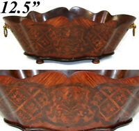 "Antique French Napoleon III 12.5"" Jardiniere, Serpentine Wood, Marquetry Inlay"