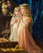 Two Girls Praying by Ernst Klimt - Children Worship 8x10 Print Picture 1569