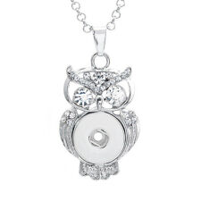 Noosa Ginger Style Snap Button Necklace Silver Owl Fit 18/20mm Chunk FREE Chain