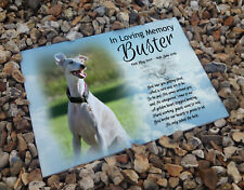 Personalised ceramic tile, headstone grave memorial plaque, Whippet pet dog