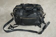 Alexander McQueen Loveless Black Leather Zip Duffle Shoulder Strap Tassle Bag