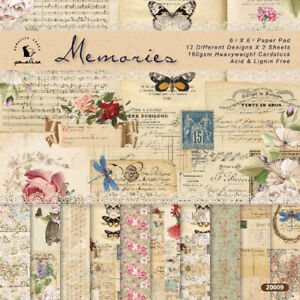 12pcs Vintage Flower Paper Pad Scrapbooking Photo Album Card Journal DIY Craft