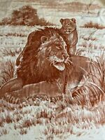 "Vintage San Marcos Lion Lioness Blanket Reversible Red Tan  93"" x 79"""