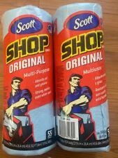 LOT OF 2 Scott Blue Original Multi Purpose Paper Shop Towels, 55 Sheets per roll