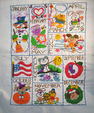 Finished Crewel Sampler of the Months of the Year