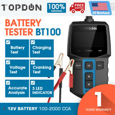 TOPDON BT100 12V Auto Car Battery Tester Charging Cranking Test 220Ah 2000CCA US