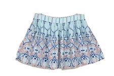Blue Pink Floral Print Elastic Waist Flowy Flared Short Summer Skirt Sz L