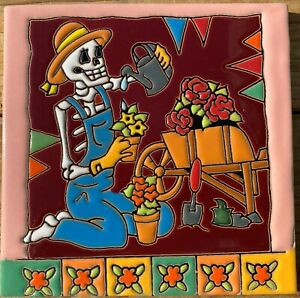 """Day of the Dead tile Talavera Mexican pottery 6"""" Lady Gardener flowers hat roses"""