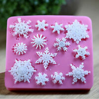 Snowflake Silicone Fondant Cake Mold Soap Chocolate DIY New Moulds Candy Y6U2