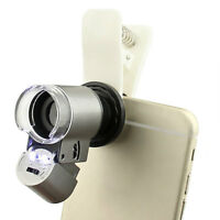 65X Zoom Microscope Magnifier Magnifying Lens W/ LED for Mobile Phone