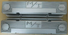 M/T 140R-50B Valve Cover, Early SBC Chevy W/Logo, Painter Silver, Pair