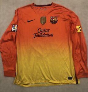 RARE Nike Authentic FC Barcelona Messi Long Sleeve Orange Jersey - Men's XXL