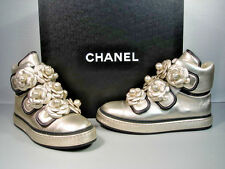 CHANEL Metallic Gold Camellia Lambskin High Top Sneakers Trainers Shoes 38 New