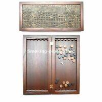 Klassisch Mittel NATURHOLZ Backgammon KROKODIL GOLD HANDARBEIT 400x400mm Nardy