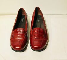 Clarks Collection Women's Nature Python Embossed Flats 9.5 W Red Brown was $138