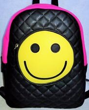 """Betsey Johnson Backpack~""""Luv Betsey""""~Black/Multi Diamond Quilt w Smiley face~NWT"""