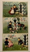 Lot of 3 Clapsaddle~Easter Postcards~Dressed Soldier Chicks~Guard Houses~s301