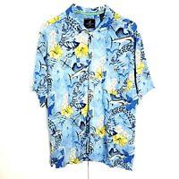 Hawaiian Aloha Shirt Floral Swordfish Size Medium Blue White Button Front Shirt