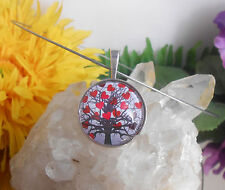 Edelstahl Halsreif mit Glas Cabochon Anhänger Amulett Motiv: Lebensbaum + Herz