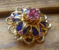 Vintage Coro Gold Tone Brooch Pink Glass Navy Blue Enamel Flower Pin Signed