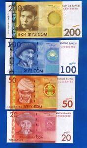 Kirgistan / Kyrgyzstan  4 x BANKNOTEN  20 50 100 200 Som 2009 / 2010 UNC  SET