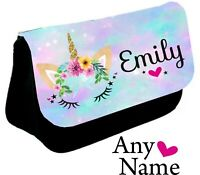 Personalised unicorn Face Pencil Case make up bag school Birthday name girls