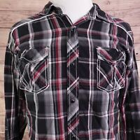 BKE BUCKLE SLIM FIT LONG SLEEVE RED BLACK PLAID SNAP BUTTON UP SHIRT MENS SZ 2XL