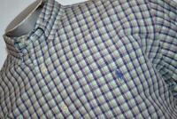 6752-a Mens Polo Ralph Lauren Dress Shirt Size XL Custom Fit Green Blue Plaids