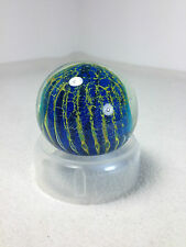 Mdina Turquoise aqua blue yellow Glass Paperweight with sticker signed