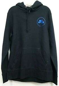 New Nike Mens Nike Air Athletic Black Blue Foil 97 Cotton Blend Soft Hoodie L