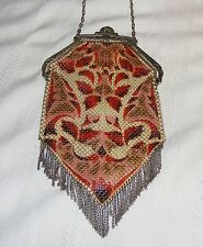 VINTAGE ANTIQUE 1920's MANDALIAN ART DECO ENAMELED MESH PURSE HANDBAG FLAPPER
