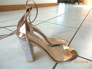 LALA IKAI Women Rose Gold High Heels 39 / 8.5 Rhinestone Chunky Heel Clear Strap