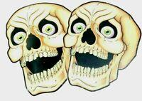 "2 Beistle Halloween 16"" Nite Glo Skulls Wall Decoration 1988 Vintage"