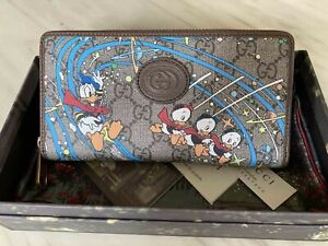 Gucci Women Wallet Disney x Gucci Canvas Purse Zip Around Made in Italy Auth.