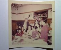 Vintage 70s PHOTO Asian Family w/ Father In Law Dinner Unwrapping Birthday Gifts