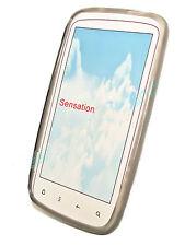Silikon TPU Handy Hülle Cover Case Schale Schutz in Smoke für HTC Sensation