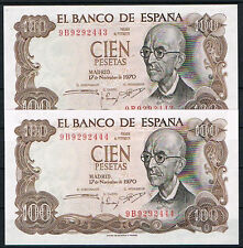 ESPAÑA PAREJA DE BILLETES 100 PESETAS 1970 Serie 9B  SC  UNC