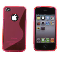 Apple iPhone 4 4S 4G Hot Pink Hybrid Silicone S Line TPU Smooth Case Cover Skin