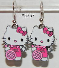 #5737 Darling HELLO KITTY Tennis Player Metal Charm Dangle Earrings