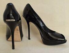 Miss Dior Christian Dior Black Patent Peep Toe Pumps Shoes Sz 7 Retail $590