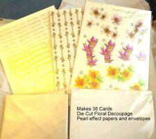 Prestige Pearl Floral Die Cut Decoupage Card Kit makes 36 cards +Pearl Envelopes