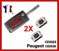2 Switchs Coque PLIP Télécommande Clé Pour Peugeot 107 206 207 307 308 SW 407 +