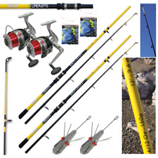 SEA FISHING SET UP - 2 X 12FT BEACHCASTER RODS + 2 X SEA REELS + WEIGHTS + RIGS