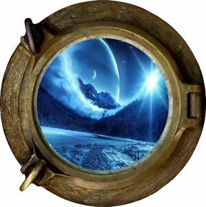 Huge 3D Porthole Enchanted Mountain River View Wall Stickers Film Decal 408