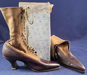 Unworn Edwardian Two Tone Brown Cloth High Top Laceup Boots & Shoe Box Sz 37 VTG