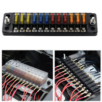 DC 12-32V Car Truck Vehicle 12-Way Blade Fuse Box Holder With Screw Nut Terminal