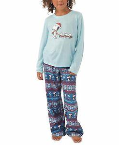 Matching Kids Peanuts Family Pajama Set Blue