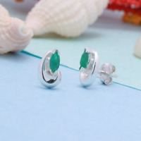 Beautiful Elegant Earrings Natural Emerald 925 Sterling Silver Stud Jewelry Gift