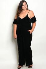 Womens Plus Size Black Velvet Cold Shoulder Jumpsuit 3XL NEW