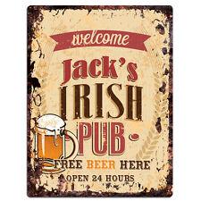 PMBP0053 JACK'S IRISH PUB Rustic tin Sign PUB Bar Man cave Decor Gift